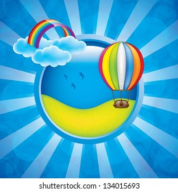Spring frame with hot air balloon and rainbow