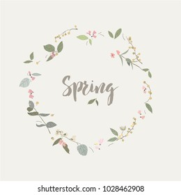 Spring fresh wreath ring flowers  color vector