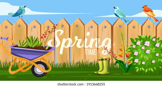 Spring garden backyard vector illustration with wooden fence, wheelbarrow, green blooming bush, flowers. Village rustic countryside background with picket wall, grass, birds,boots. Garden summer fence