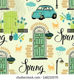 Spring garden and blooming irises, cats and cars. Calligraphy