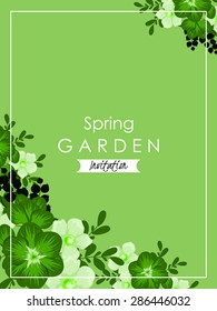Spring garden collection. Vintage invitation card of beautiful flowers. Easy to edit. Perfect for invitations or announcements.