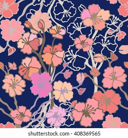 Spring garden. Seamless floral vector pattern with blooming cherry tree. Bohemian textile collection. Pink on dark blue.
