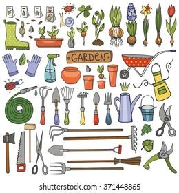 Spring garden set.Hand drawn vector sketch elements: flowers,bulb, garden tool, bugs,boarding equipment.Gardening isolated icon set,spring symbols,vintage vector elements