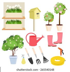Spring gardening set of colored icons showing flowering plants and trees, watering can, boots, tools, hose, bird nesting box and sprayers, vector design elements