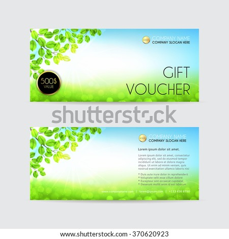 Spring Gift Voucher Template Vector Illustration Stock Vector
