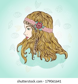 Spring girl with flowers in hair