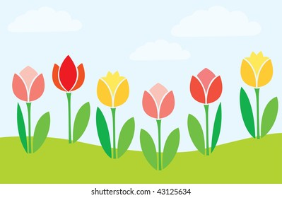 Spring glade with blossoming tulips