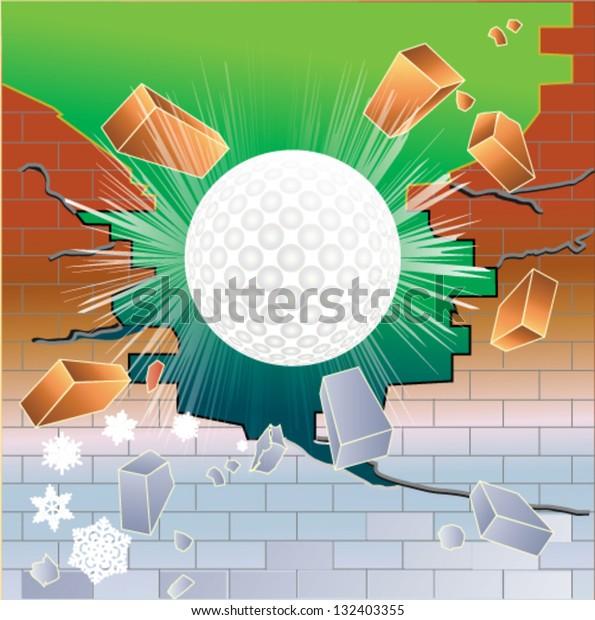 Spring golf ball breaking through red brick thawing brick wall