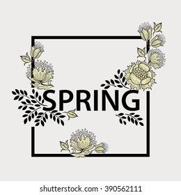 Spring graphic design. Square floral frame. Poster.