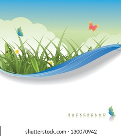Spring Grass Background. EPS 8 vector, grouped for easy editing. No open shapes or paths.