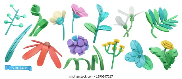 Spring grass and flowers. Miscellaneous 3d vector objects. Nature icon set
