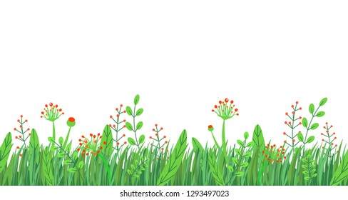 Spring grass seamless border vector. Floral wildflowers springtime nature plant element isolated on white background in minimal style.