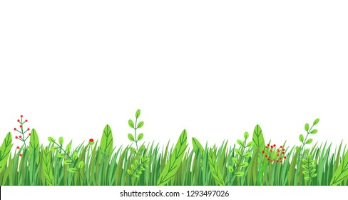 Spring grass seamless border vector. Floral springtime nature plant element isolated on white background in minimal style.