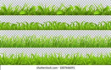 Spring green grass, seamless pattern. 3d realistic vector set