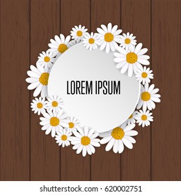 Spring greeting card with blooming chamomile flower on wooden background vector illustration. Floral decorated spring design, romantic celebration template, nature feast congratulation with copy space