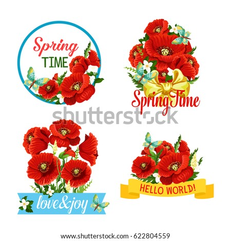 Spring greeting quotes blooming red poppy stock vector royalty free spring greeting quotes of blooming red poppy flowers floral wreath and ribbon bows vector mightylinksfo