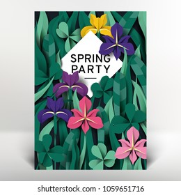 Spring greeting/invitation card template design, colorful iris flowers and leaves, paper art/paper cutting style