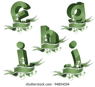 Spring growth alphabet letters icon symbol set EPS 8 vector, grouped for easy editing. No open shapes or paths.