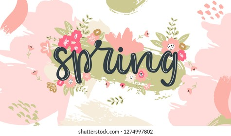 Spring hand written lettering word.Hand drawn typography banner and spring season illustration with flowers and branches for greeting cards,invitations, ad banners, with brush strokes on background