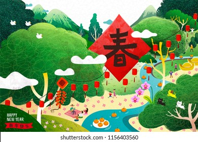Spring and happy new year Chinese word on spring couplet with hand drawn style nature scenery, people having picnic near by river