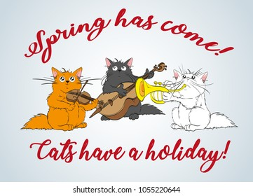 Spring has come. Vector set of cute spring cats. Orchestra of charming kittens. Guitarist, trumpeter, conductor. Illustration in sketch style. Three kittens. Funny cartoon characters.