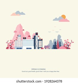 Spring is here, architecture, city, season...illustration