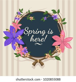 Spring is here illustration on circle board. Beautiful floral card design for spring. Designed with nice purple, pink, flowers on branch. Good for invitations card, web banner, backgrounds