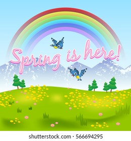 Spring is here natural scenery with grassy meadow included flowers, birds, rainbow, trees and mountains.