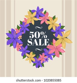 Spring is here with sale text illustratio. Beautiful floral card design for spring. Designed with nice purple, pink, flowers. Good for invitations card (replace text), web banner, backgrounds