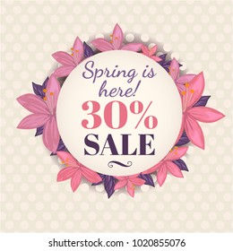 Spring is here with sale text illustration. Beautiful floral card design for spring. Designed with nice purple, pink, flowers. Good for invitations card (replace text), web banner, backgrounds