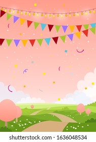 Spring holiday card background with copy space. Fairytale country with pink sky, trees and flags. Blank for birthday, invitation, children s party. Flat cartoon vector illustration