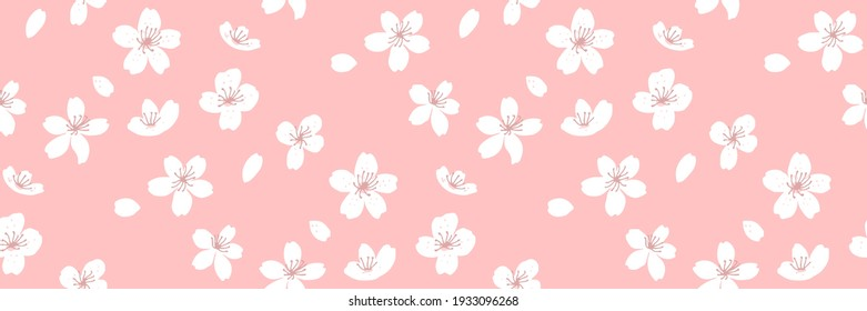Spring horizontal background, seamless sakura texture with flowers and falling petals. Vector repeat for fabric and paper design.