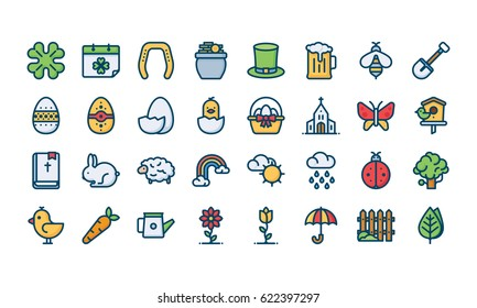 Spring icon set, filled outline style