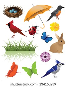 Spring Icon Symbol Graphic Deign Elements. EPS 8 vector, grouped for easy editing. No open shapes or paths.