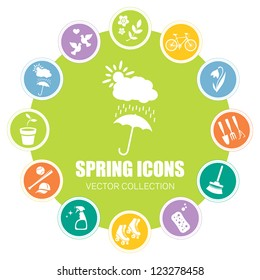 Spring icons, vector illustration