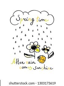 Spring Illustration with cloud, raindrops, flowers, ladybug and text. Spring phrase. Spring background in doodle style. Childish print.