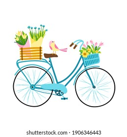 Spring illustration. Cute female bicycle with flowers, basket, box and bouquet. Small bird. Fresh colorful palette hand drawn cartoon style
