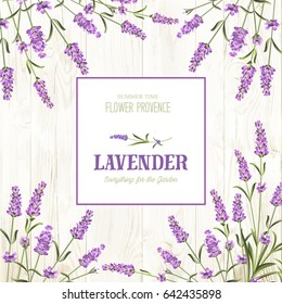 Spring invitation card with lavender flowers. Marriage invitation card with custom sign and flower frame. Lavender frame for provence card. Lavender sign label.