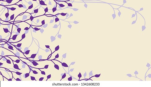 Spring ivy and vines in purple on a yellow background vector, leaves climbing up the border in a floral nature vector pattern for wedding announcements or invitations, vector colors can be edited