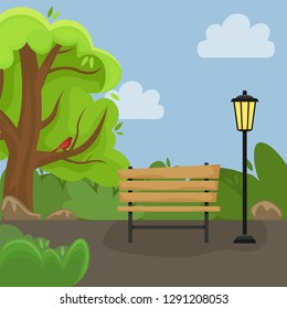 Spring landscape. Alley in the Park with a bench and a lantern. Sunny day. Flat cartoon style.