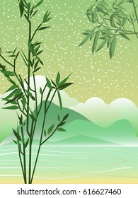Spring landscape. Asia. Bamboo branches. The mountains. Vector background.