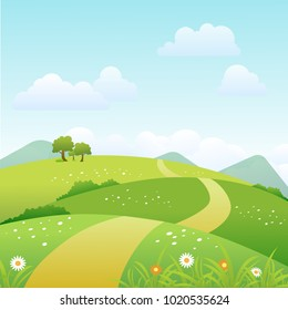Spring landscape background with clouds and green meadow. Vector illustration