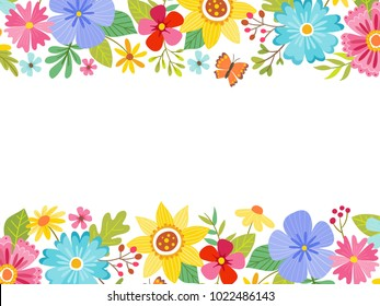 Spring landscape background full of flowers at the top and bottom, with an editable blank space in the middle. Vector illustration.