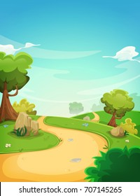 Spring Landscape Background With Path/ Illustration of a cartoon spring or summer season landscape with country road, green fields, trees and vegetation on a blue horizon