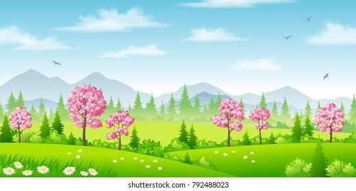 Spring landscape with blossoming trees