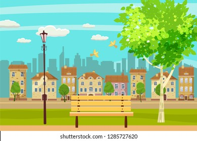 Spring landscape city park. Bench in outdoor. Birds singing. Blue sky. Bright juicy colors. Vector, illustration, isolated. Cartoon style