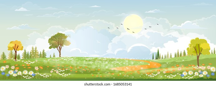 Spring landscape in countryside with green meadow on hills with blue sky, Vector Summer or Spring landscape, Panoramic village with grass field and wildflowers, Holiday natural background