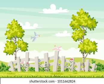 Spring landscape with flowers and birds