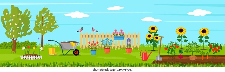 spring landscape in the garden with green grass, flowers, garden wheelbarrow, shovel. garden concept. vector illustration