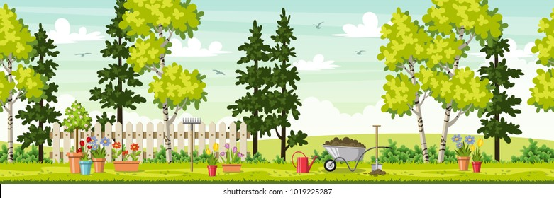 Spring landscape with garden tools, panorama